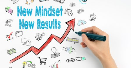 New Mindset New Results Concept. Hand with marker writing